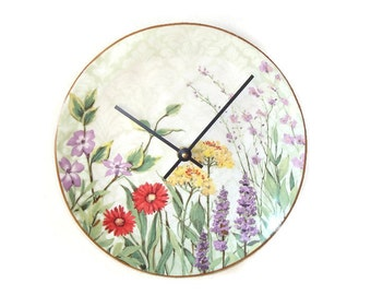 SALE!  Botanical Garden Wall Clock, Floral Kitchen Clock, Unique Wall Clock, Unique Wall Decor, Mother's Day, English Garden Clock  1609
