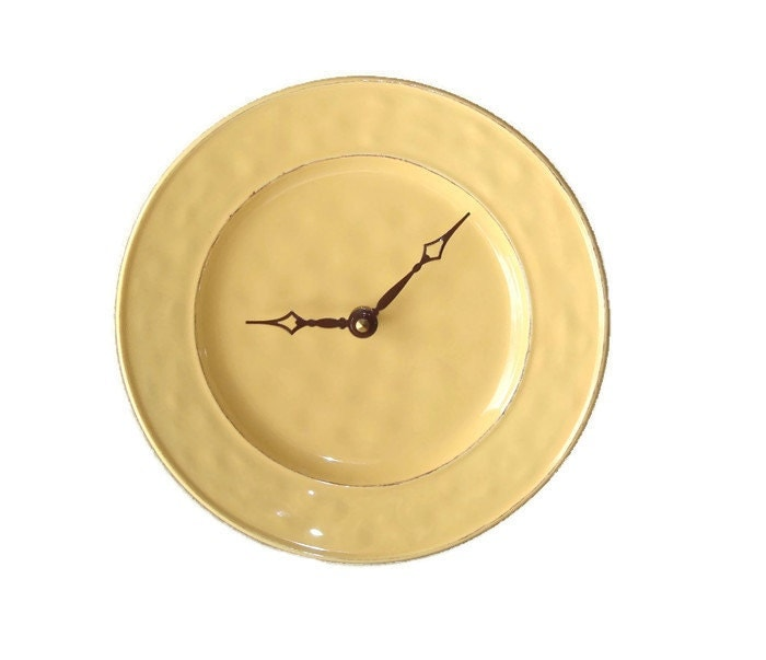 Modern clock yellow wall clock kitchen wall by makingtimetc - Modern clocks for kitchen ...