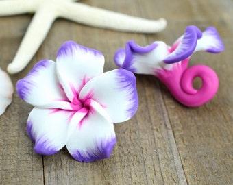 Flower Pendants, 3pcs,  30mm,Polymer Clay Flower Beads, P160