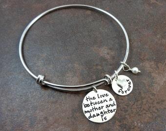 Silver Bangle Bracelet - Mother Daughter Bracelet - Adjustable Bangle