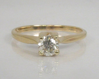 Vintage Diamond Solitaire Engagement Ring - 0.39 Carat Diamond -10K Yellow Gold
