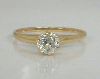 Antique Diamond Engagement Ring -  Old European Cut Diamond Solitaire Engagement Ring - 0.53 Carat - Appraisal Included