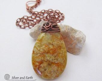 SALE - Jade Stone Necklace, Gold Jade Pendant, Wire Wrapped Jewelry, Sale Necklace, Earthy Stone Jewelry, Handmade Artisan Jewelry Sale
