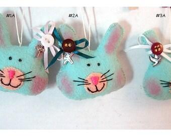 Bunny Ornament*/Made of Felt/ Single OR SET(s)/ Handmade/Made to Order**