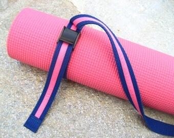 Strap a Mat YOGA MAT SLING Tote & Yoga Strap in Blue Webbing w/ Lipstick Pink Ribbon Trim