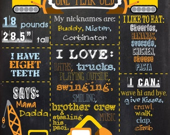 Construction Chalkboard Print