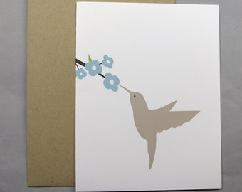 Hummingbird and Flowers A2 Folded Card (Choose your color set / phrase)