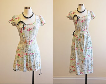 1940s Romper & Skirt - 40s Beach Pajama Set - Novelty Print Rayon Jersey Playsuit S M - Castle Knight Princess