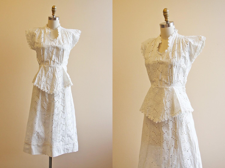 30s Dress Vintage 1930s Wedding Dress White Eyelet Cotton