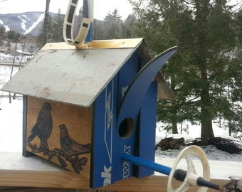 CUSTOM Ski Birdhouse Made in Vermont and handcrafted out of a Recycle X-Country Skis