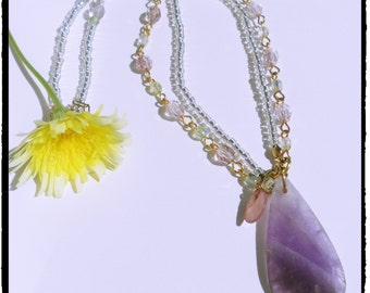 Amethyst Inspired Beaded Necklace- costume jewelry