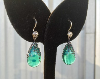 Jade Green Moonstone Glass Earrings with Metallic Glass Granulated Cap