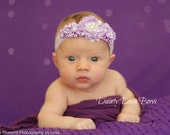Lavender Flower Cluster on Fold Over Elastic Headband - FOE - Foldover - Baby Toddler Newborn - Headband - Photo Prop - Lavender