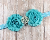 Turquoise Shabby Flower on Blue Snowflake Foldover Elastic Headband, Baby Headband, Newborn Headband, Toddler Headband, Photo Prop, Winter
