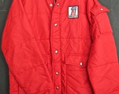 RESERVED 70's AMF Harley Davidson Motor Cross Nylon Puffer Jacket Red Mens Large