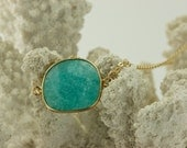 Turquoise Chalcedony Gemstone on 24kt Gold Filled Chain
