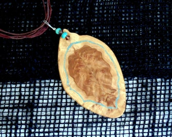 Hand Carved Brown mallee burl pendant, Brown Swarovski crystals, Turquoise stone beads