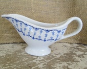 White Blue Restaurant ware Gravy Boat Dish, White Blue Decor,Fleur de lis style,Sterling China,Hotel Diner China,Country Cottage,Farmhouse
