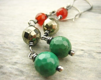 Earthy Green chrysoprase golden pyrite red carnelian Sterling Silver Earrings hand made rustic Oxidized Gray long Dangle