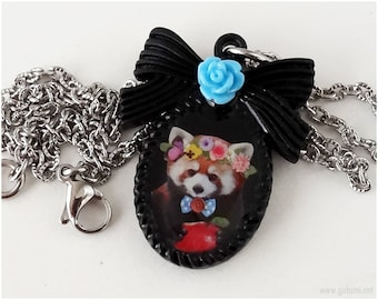 Red Panda Necklace, Black Resin Pendant, Stainless Steel Chain - Kawaii Jewelry