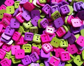 50 pcs Mix colors Square buttons 2 holes size 10 mm