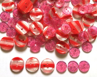 30 pcs Mix Red Stripe and Glitter pink buttons