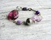 Purple Chunky Beaded Bracelet Metallic Bead Bracelet Stackable Statement Bracelet Minimalist Jewelry Beaded Bracelet Simple Fashion Bracelet