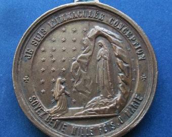 Virgin Mary Lourdes Religious Medal Catholic French Pendant  SS15