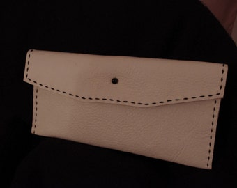 Handmade White Leather Clutch with Black Stiching