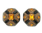 50% Off LJ Orange Rhinestone Gun Metal Clip Back 80s Earrings Vtg Jewelry