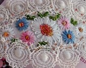 Vintage Embroidered Linen and Lace Barrette