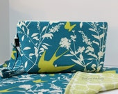 CLEARANCE SALE - Ready To Ship - Zippered Diaper Clutch and Changing Mat Set - In Swallows In Teal