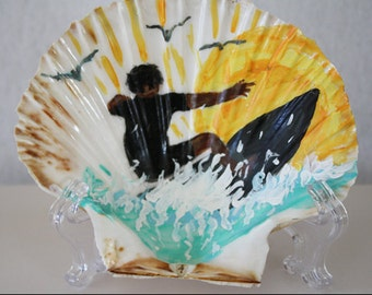 Surfer Painting on a Seashell