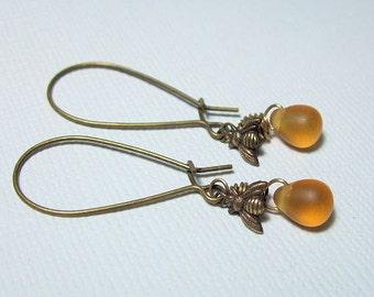 Brass Bee Earrings, Czech Glass Beads, Honey Bee Jewelry, Everyday, Vintage Inspired jewelry