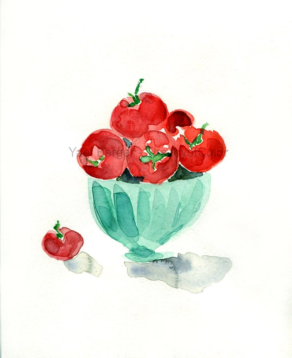 Tomatoes in mint bowl art print, watercolor painting, mothers day, kitchen art, tomatoes print,vegetable art, still life tomatoes