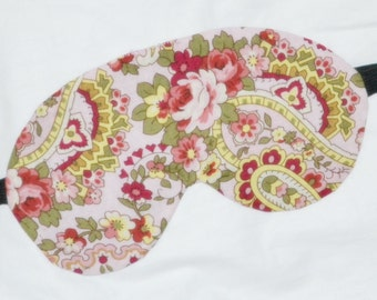 Five Layer LUXURY Cotton Sleep Eye Mask - Cottage Chic Paisley PINK & Sage Green ROSES  - Shades of pinks, greens, yellow and crimsons
