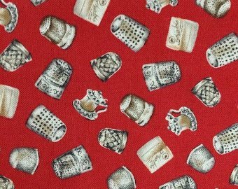 "FREE SHIP - Marcus Brothers Exclusive ""A Stitch in Time""//Thimbles, Thimbles, Everywhere// All Cotton Novelty//OP 36"" long x 44"" wide"