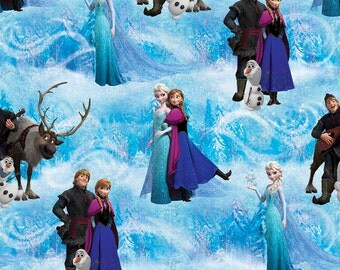 Disney Frozen Scenic Cotton Fabric - Elsa, Anna, Olaf, Kristoff, and Sven - By The Yard