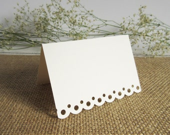 100 Wedding Blank Escort Cards/ Scallop Edge / Wedding Placecards / Tent Style/ White or Ivory/ Escort Card/ Free Standing