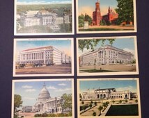 Antique Linen Postcards Washington D. C. 1930's Lot of 6 Collectible Souvenir Political History Capitol Congress Smithsonian Union Station