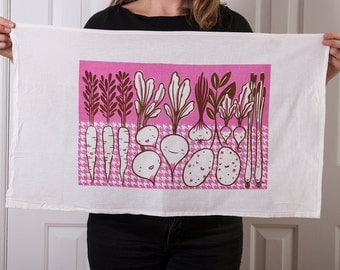 Flour sack tea towel with root vegetable screen print