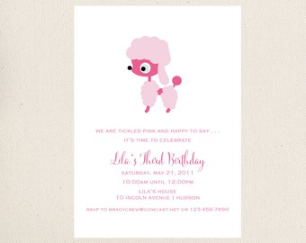 Poodle Birthday Party Invite