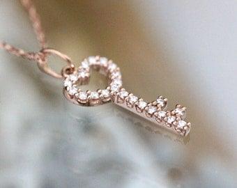 Genuine Diamond Skeleton Key 14K Rose Gold Pendant, Pavé Diamond Pendant, Birthstone, Necklace, Charm,  - Made To Order