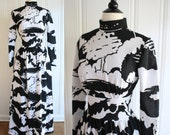 vintage 60s Black and White Maxi Dress / 1960s Abstract Graphic Tree Print High Collar Hostess Dress / Extra Small Small