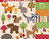 Buy 2, Get 1 FREE - Woodland Animals Clipart  -  Digital Woodland Animals Clipart - Instant Download