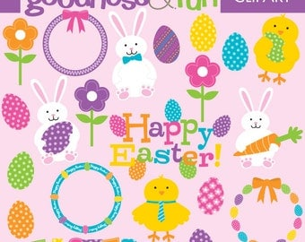 Buy 2, Get 1 FREE - Happy Easter Clipart - Digital Easter Clipart  -  Instant Download