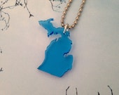 Lasercut State Necklace of Michigan with UP and LP, Small Size in Light Blue, Upper Peninsula of Michigan