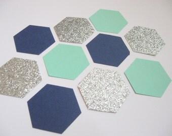 Navy/Mint/Silver - Hexagon/Honeycomb shape - Parties/Showers/Weddings/Wall Art/DIY Garland/Baby Nursery Decor