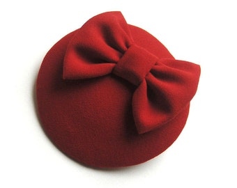 Red Wool Cocktail Hat - Red Bow Cocktail Hat - Red Fascinator.