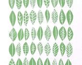 LINOCUT PRINT - Leaf collection pattern - light green block print 8x10 mid century modern
